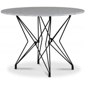 Zoo matbord Ø105 cm - Svart / Ljus Marmor