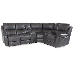 Enjoy recliner-hörnsoffa - 4-sits (el) i grått konstskinn (modell V)