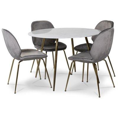 Art matgrupp: Runt bord marmor/Mässing + 4 st Deco stolar grå sammet / mässing