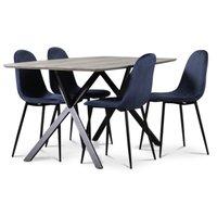 Smokey matgrupp, matbord med 4 st Carisma sammetsstolar - Blå