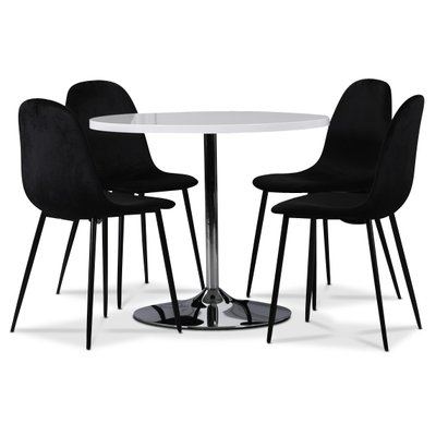 Tiana bord med kromad fot - Vit (Högglans) / Krom