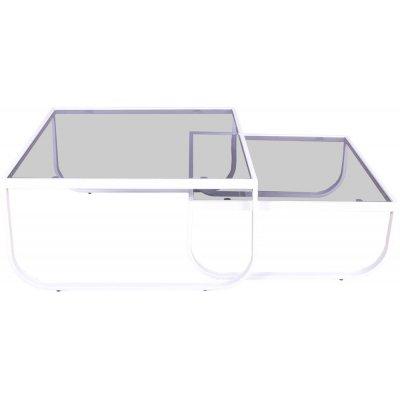 Korsbacken soffbord - Vit/glas
