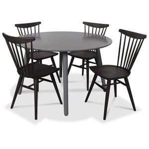 Rosvik matgrupp runt grått matbord med 4 st Thor pinnstolar- Grått / Brunoljad ek
