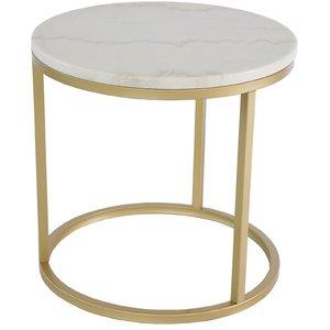 Accent soffbord rund 50 - Vit marmor / Mässingsfärgad