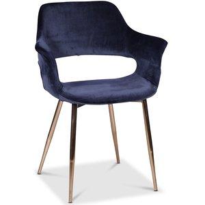 Flap karmstol - Mörkblå sammet kromade ben