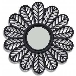 Peacock spegel i rotting Ø60 cm - Svart