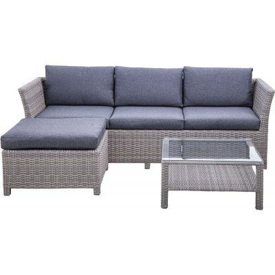 Nordanå utemöbelgrupp 3-sits soffa inkl. fotpall & bord - Grå konstrotting