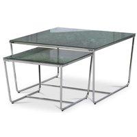 Stella Satsbord - Grönt marmorerat glas / Kromat underrede