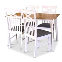 Sofiero matgrupp - Bord inklusive 4 st stolar - Vit/Ek