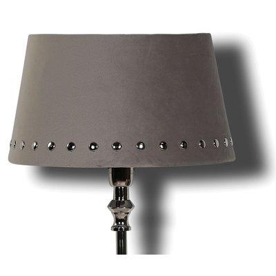 Velvet lampskärm med nitar 33 cm - Grå / Krom
