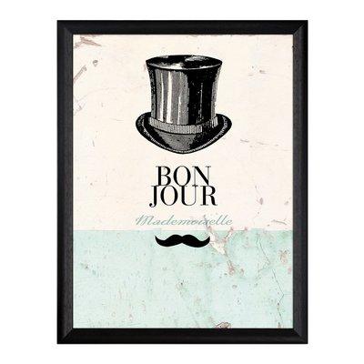 """Tavla \\\""""Bon Jour\\\"""" svart hatt"""