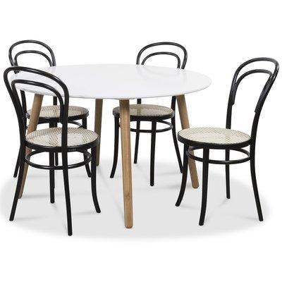 Rosvik matgrupp Runt bord - Vit/ek med 4 st Stol No14 med rotting