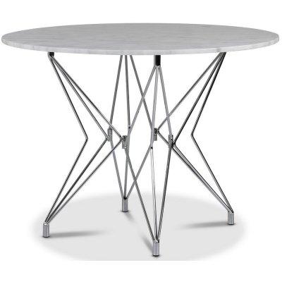 Zoo matbord Ø105 cm - Krom / Ljus Marmor