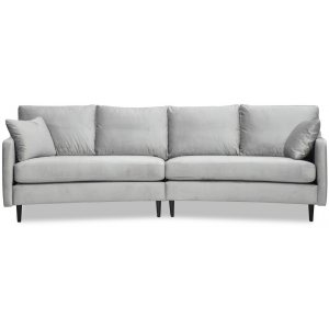 Visby 4-sits svängd soffa 301 cm - Ljusgrå sammet