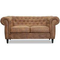 Ashford 2-sits chesterfield - Cognac ecoläder