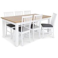 Skagen matgrupp - Skagen 180 cm matbord inklusive 6 st Alice matstolar med grå sits - Vit/ekbets