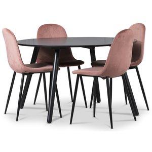Rosvik matgrupp, matbord med 4 st Carisma sammetsstolar - Rosa/Svart