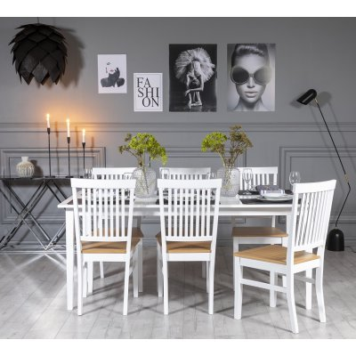 Gåsö matgrupp: Bord 180 cm inklusive 6 Fårö stolar - Vit/Ek