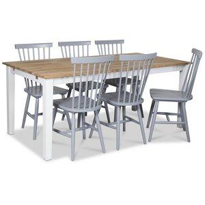 Österlen matgrupp, Klassiskt 180 cm matbord i vit/ek med 6 st gråa pinnstolar